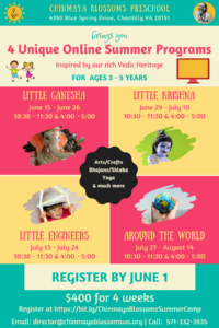 4 Online Summer Programs (3-5 Years) @ Chinmaya Blossoms Preschool