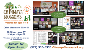 Chinmaya Blossoms  Online Classes 2020 - 2021 (Ages 3-5)