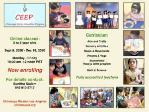 Chinmaya Early Education Program for 3- 5 year olds.